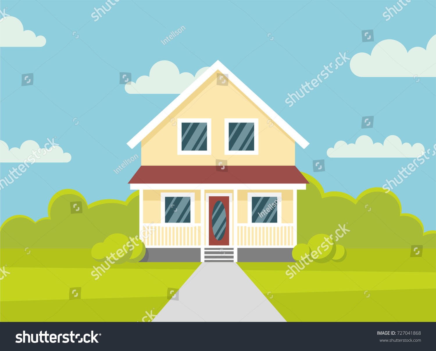 Traditional House Family Home Flat Design Stock Vector 727041868 ...