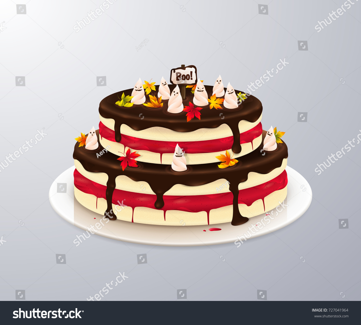 Vector Scary Cake Bloody Cream Maple Stock Vector Royalty Free