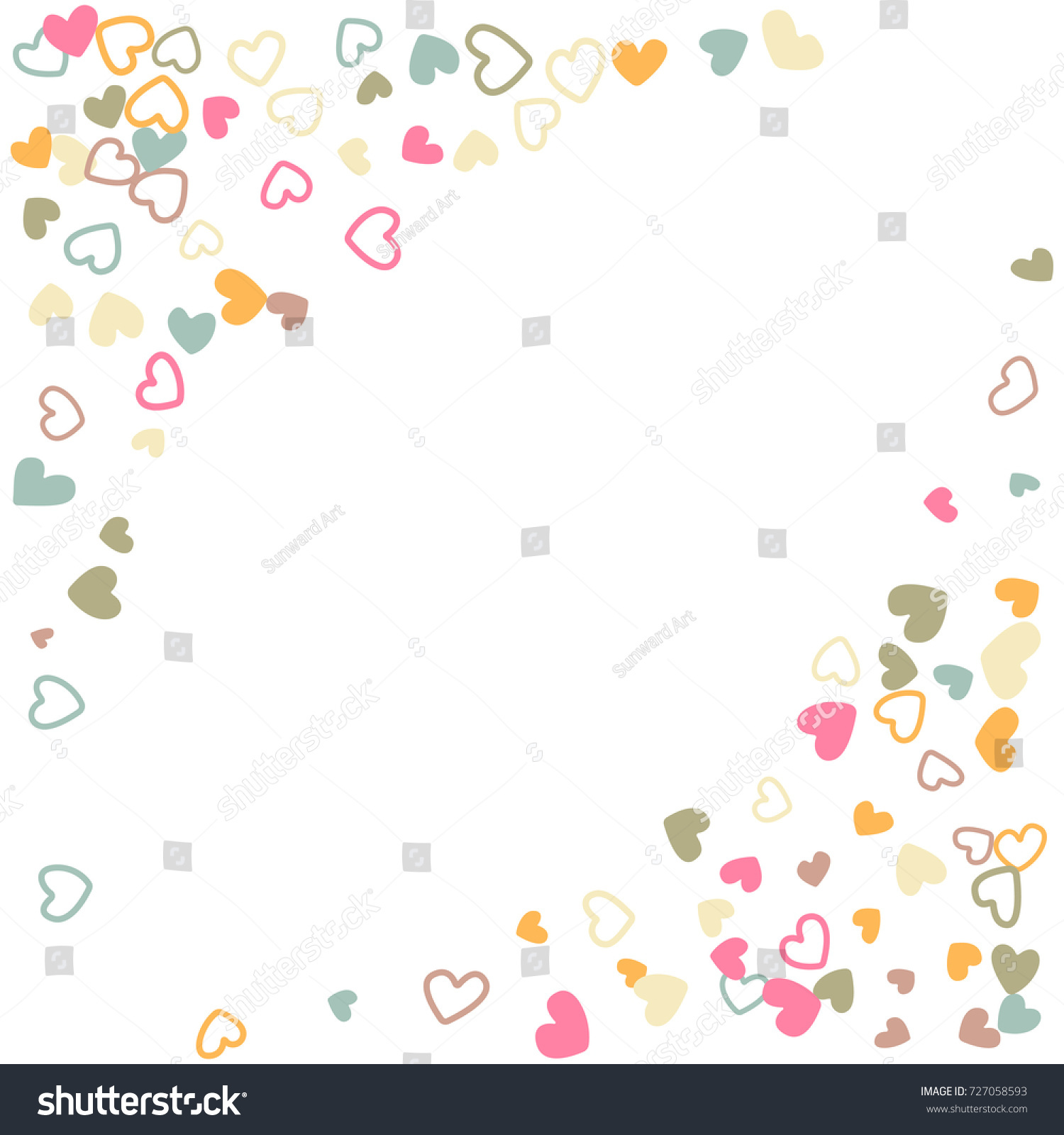 pastel wedding invitation template border vector flying hearts border confetti with place for text