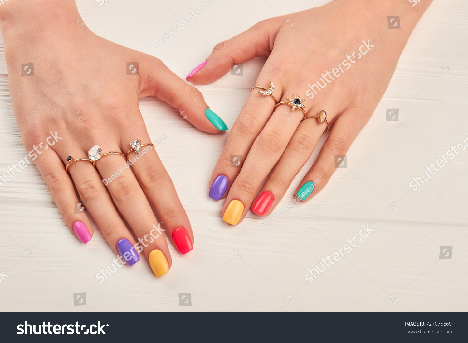 Manicured Hands Young Woman Summer Manicure Stock Photo 727075669 ...