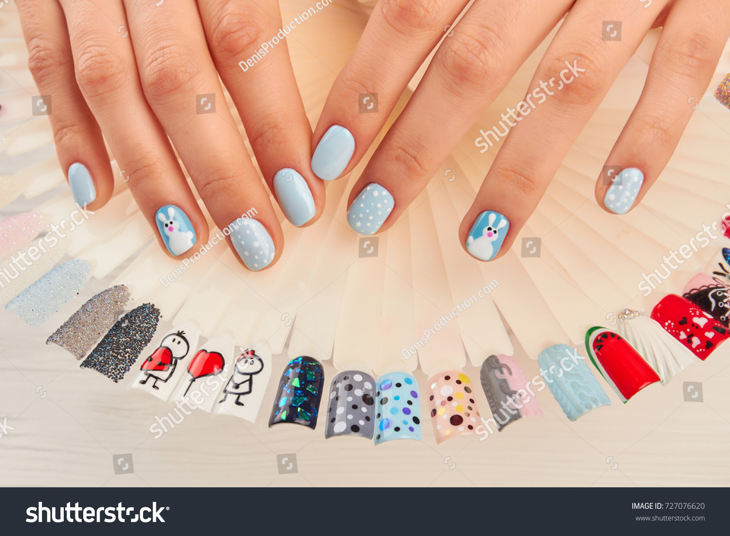 Manicured Hands Nail Art Samples Woman Stock Photo (Royalty Free ...