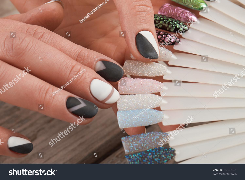 Fashion Nail Art Samples Female Hands Stock Photo (Royalty Free ...