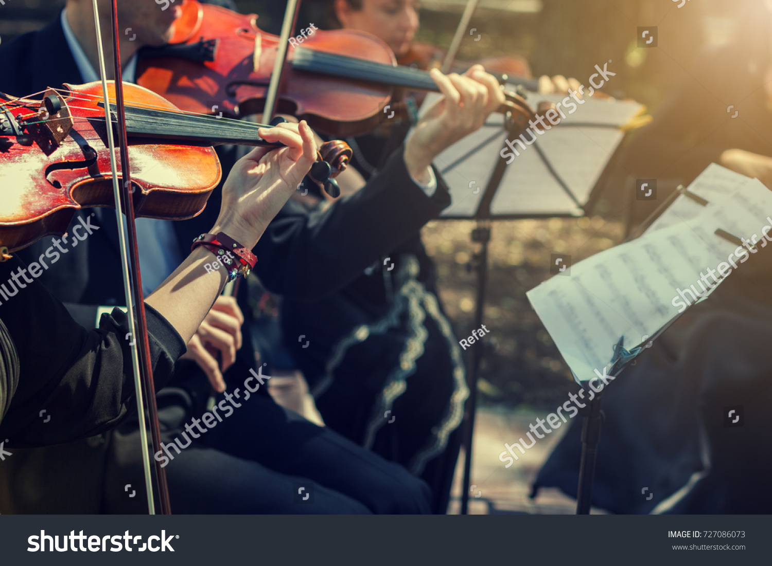 Musicians playing the violin close up. #727086073