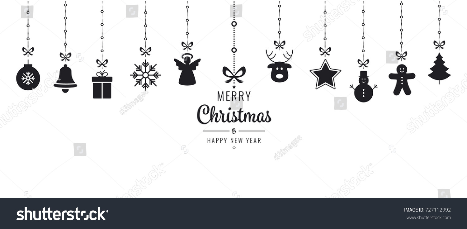Christmas ornament elements hanging black isolated stock vector