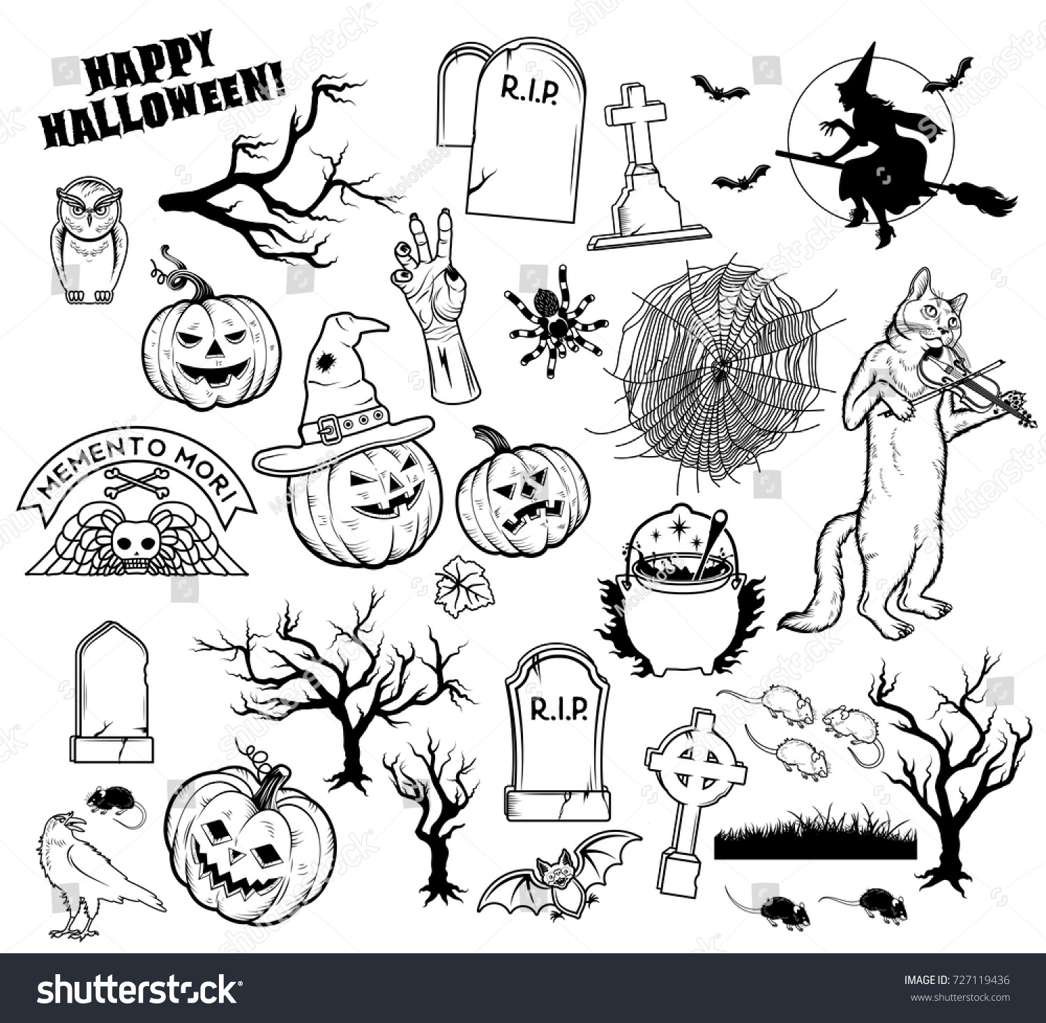 set halloween characters pumpkins witches silhouette stock vector