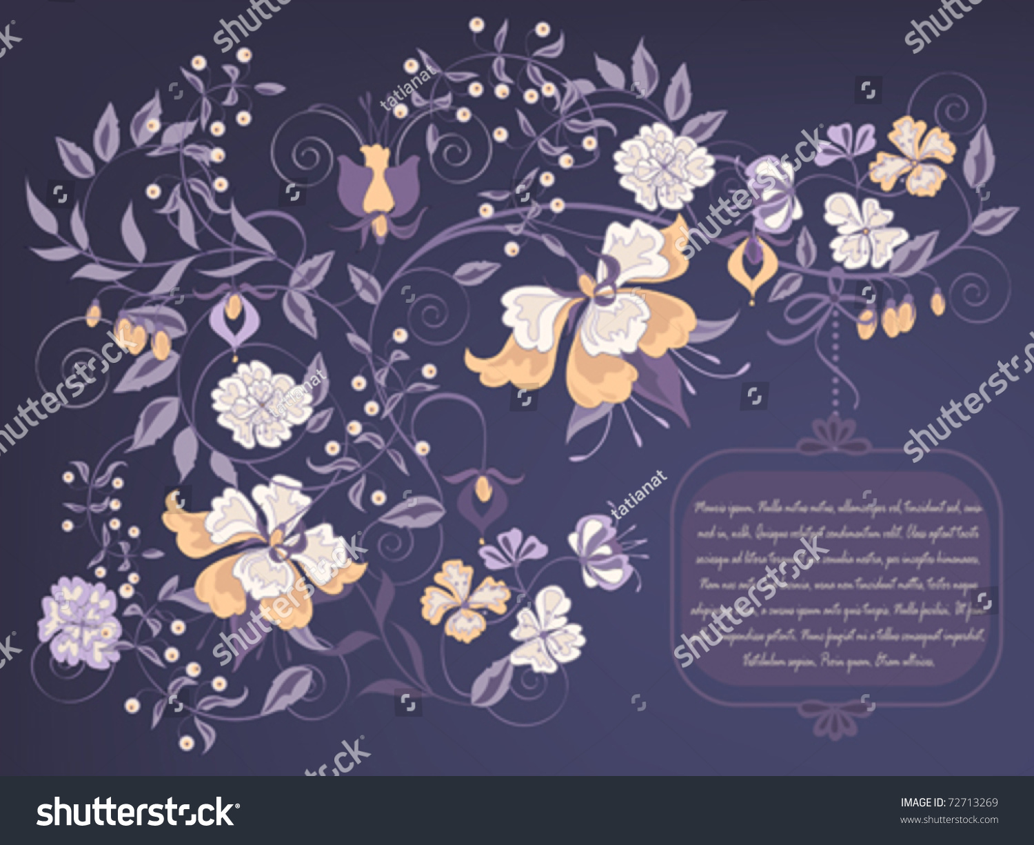 Decorative Dark Floral Background Place Text Stock Vector Royalty