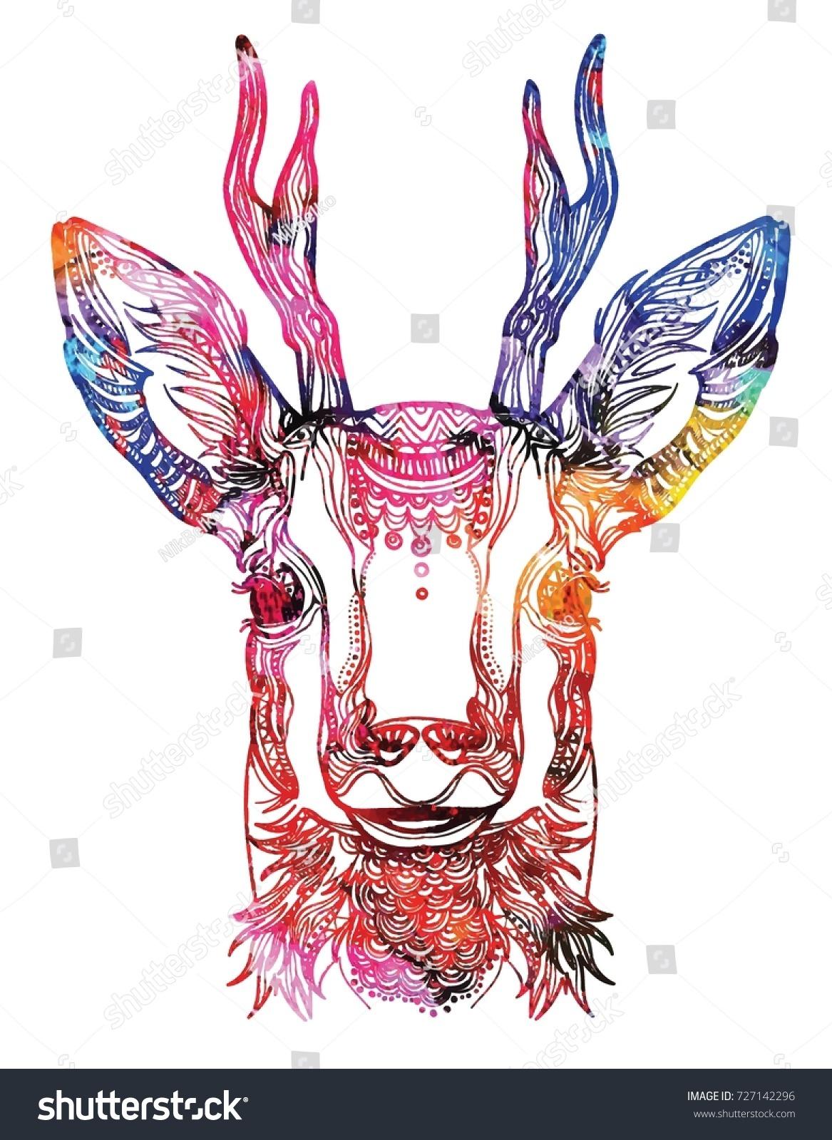 Meditation Coloring Of The Mandala Head A Deer