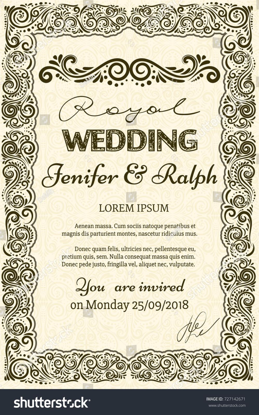 Classic Vintage Wedding Card Elegant Classic Stock Photo (Photo ...