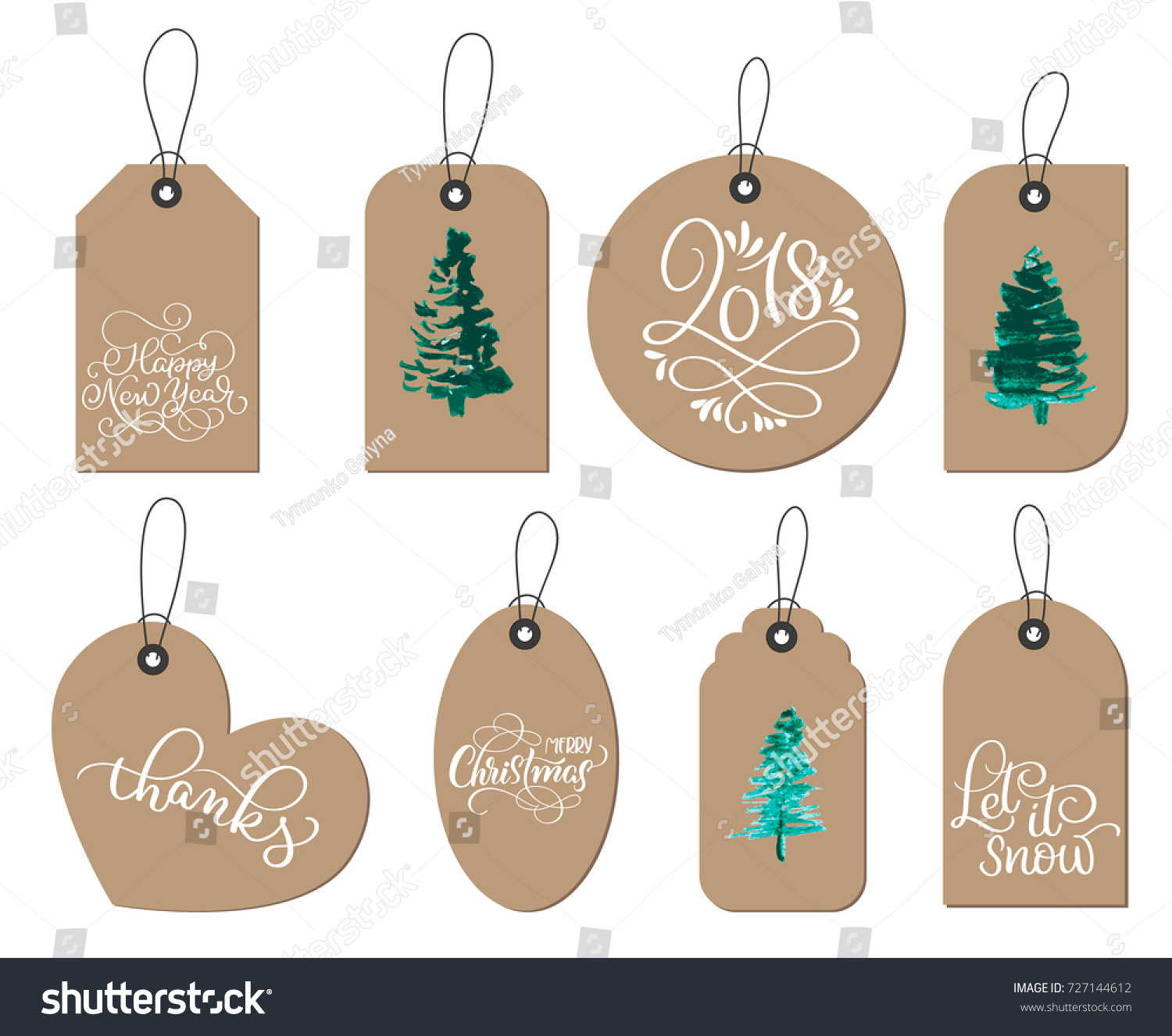 Collection Kraft Paper Christmas Gift Tags Stock Vector (Royalty ...