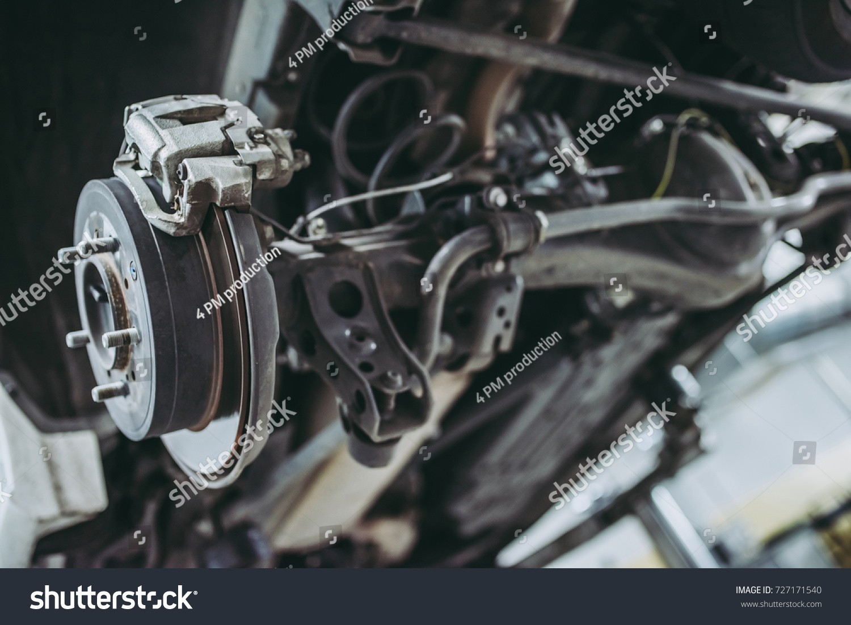 Auto Service Car Repair Maintenance Suspension Stock Photo