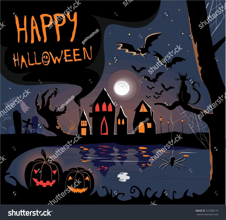 Cute Horror Halloween Print Scary Pumpkins Vector 727208110 – Scary or Horror Invitation Cards