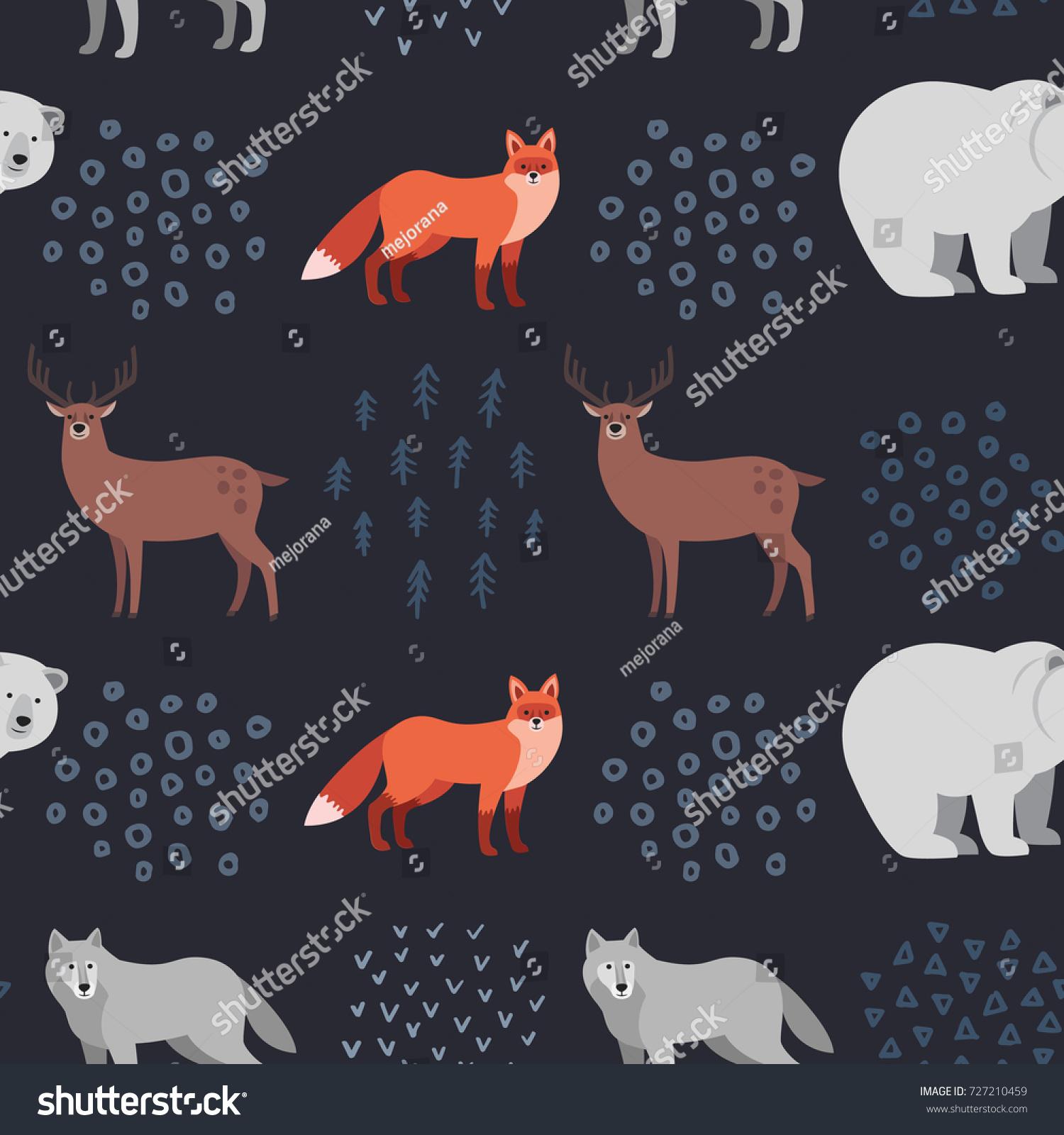 Seamless Handdrawn Pattern Forest Animals Fox Stock Vector