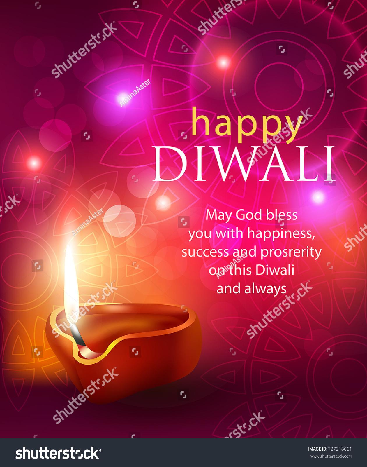 Happy Diwali Background Diya Greeting Vector Stock Vector Royalty