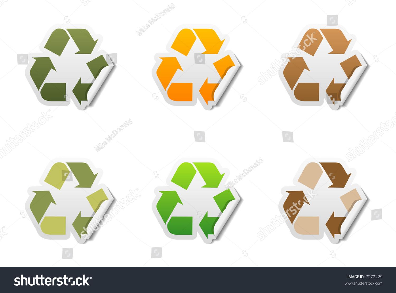 Set 6 Recycle Symbol Stickers Peeled Stock Illustration 7272229