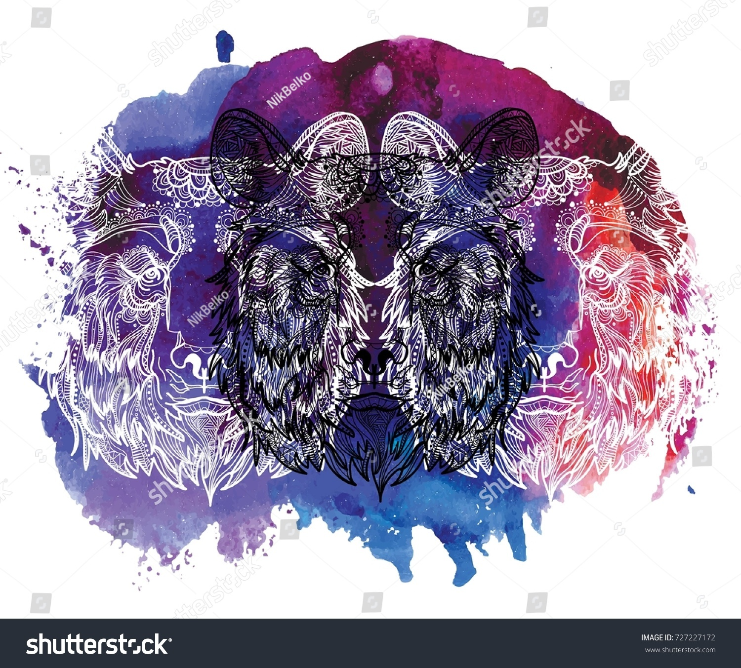 The Head Of A Bear Meditation Coloring Mandala Fluffy Face With