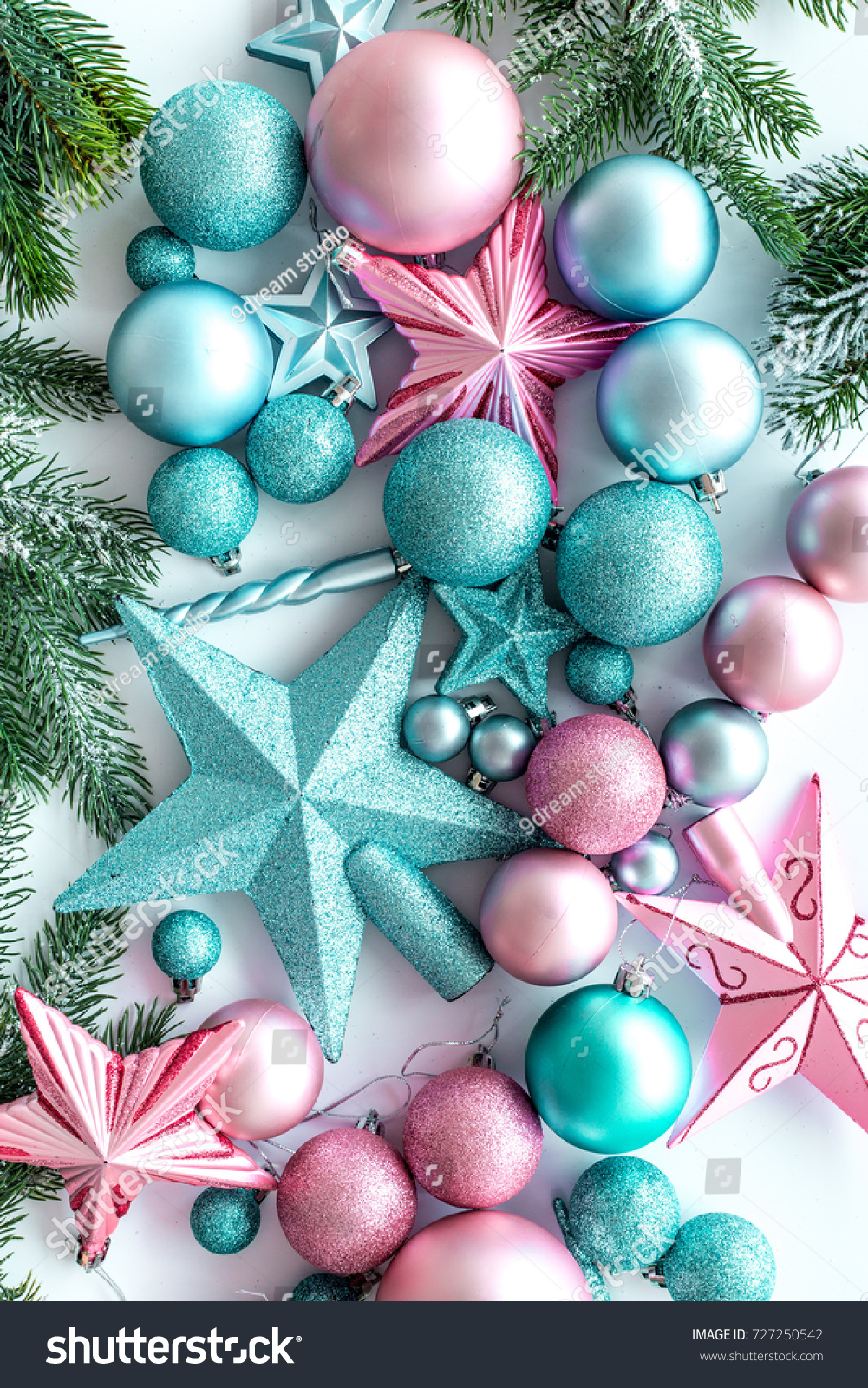 Decorate Christmas Tree Pink Blue Stars Stock Photo Edit Now 727250542
