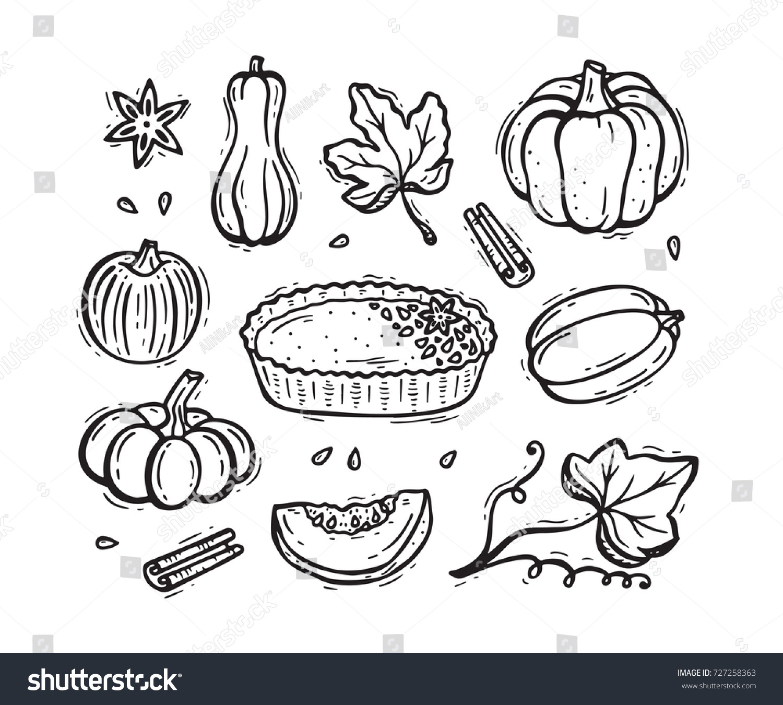 Vector Food Autumn Harvest Symbols Hand Stock Vector 727258363 ...