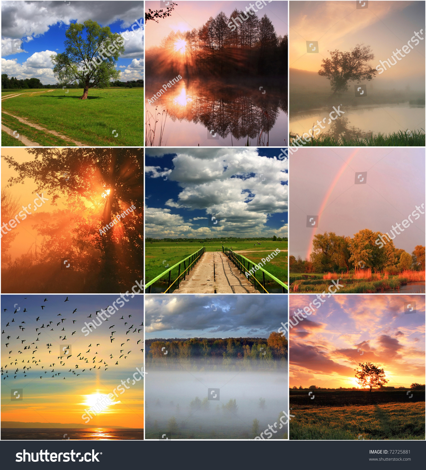 Spring Collage Landscapes Stock Photo 72725881