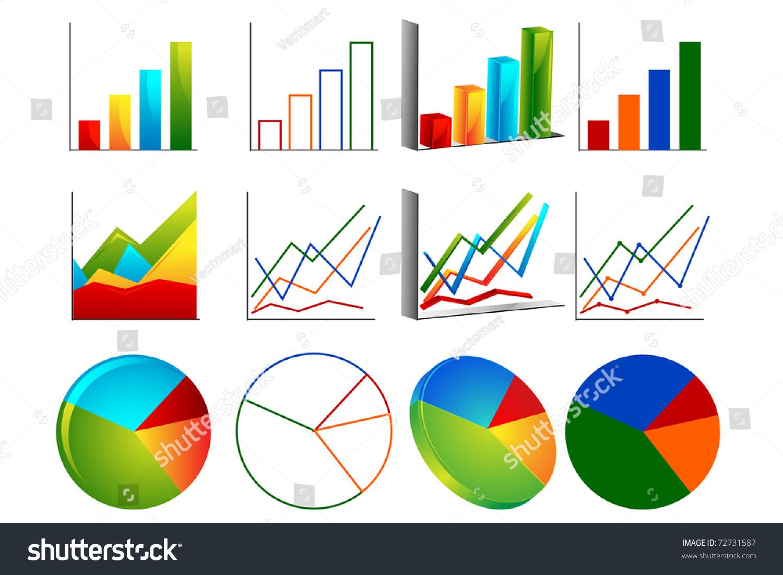 Illustration Set Bar Graph Line Graph Stock Vector Royalty Free