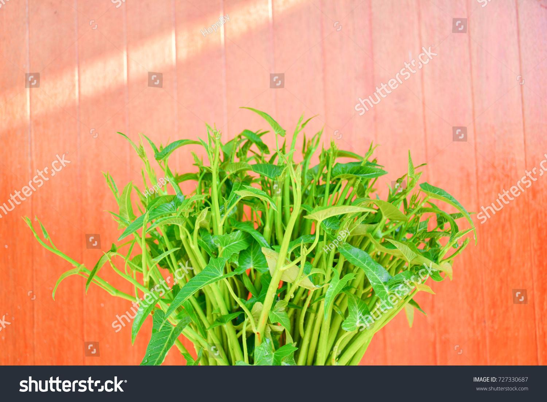ดาวน์โหลดรูปผักบุ้ง swamp cabbage or morning glory , fresh tropical vegetable. บนพื้นหลังไม้