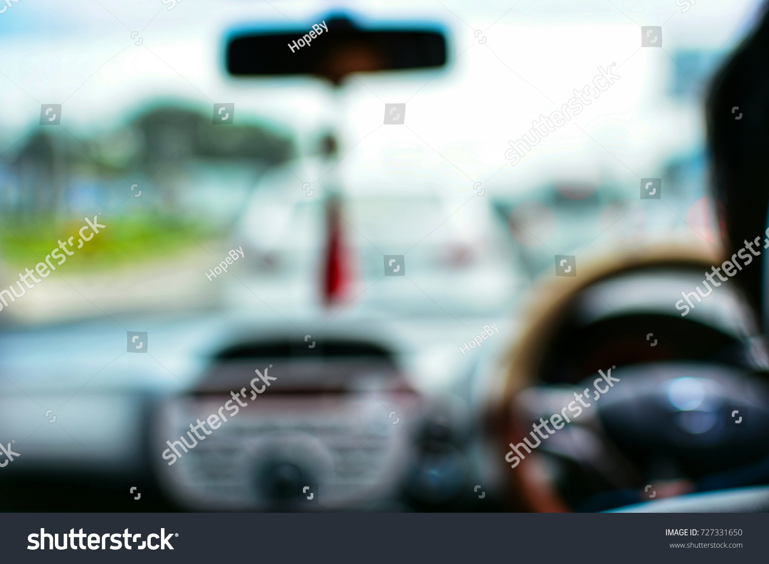 Blurred driving a car, traffic jam concept.
