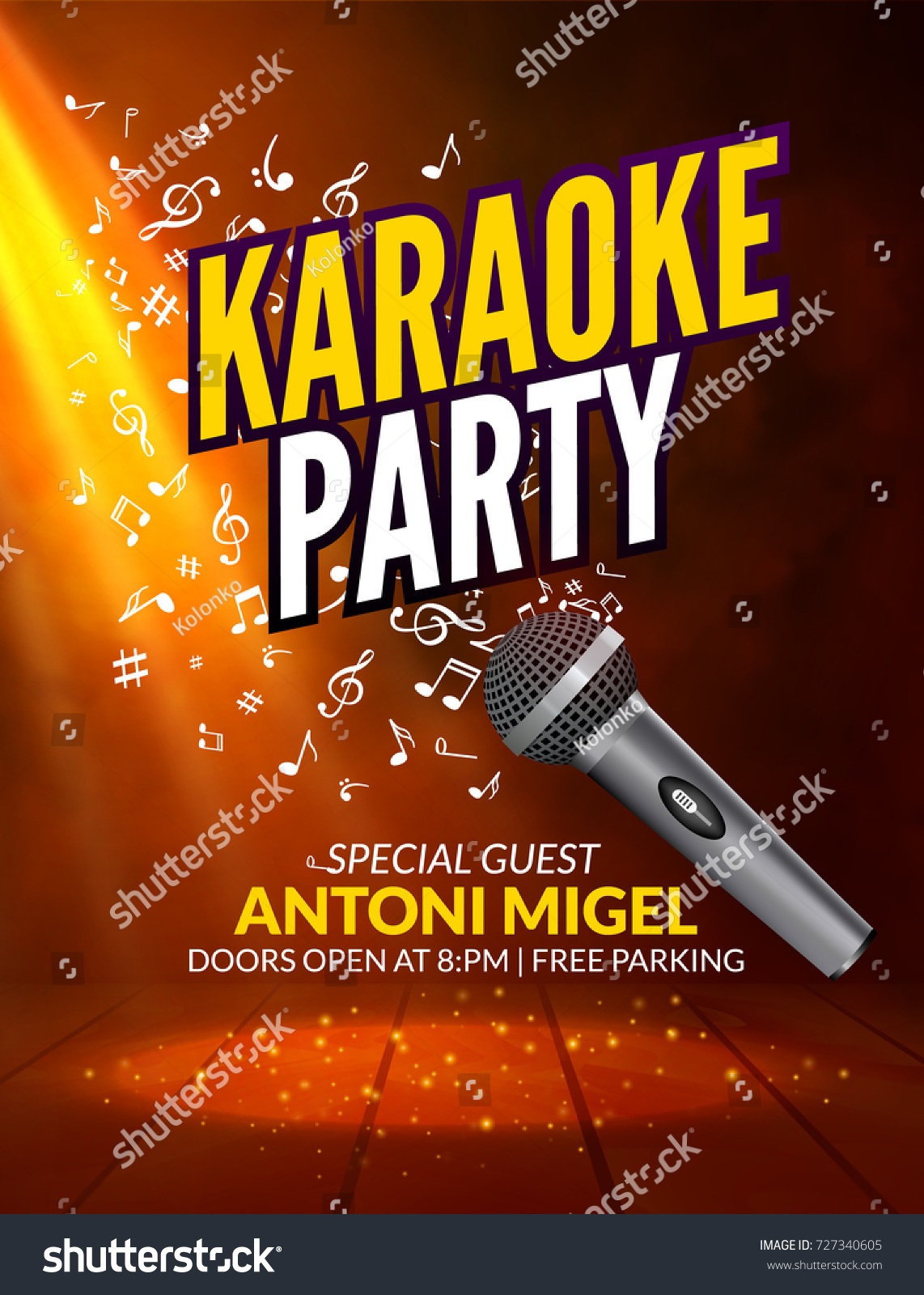 Karaoke Party Invitation Poster Design Template Stock Vector ...