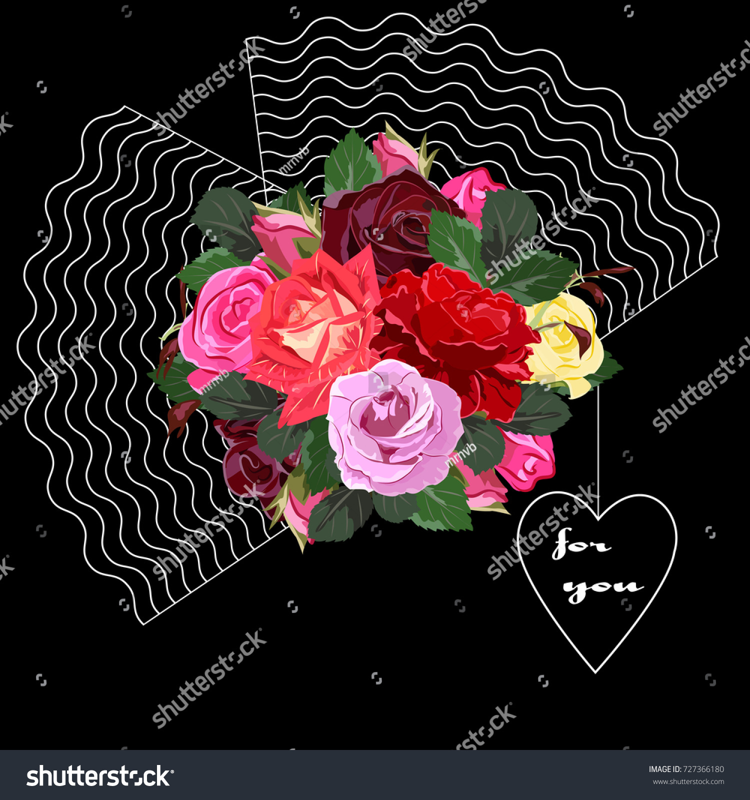 Bouquet Red Pink Burgundy Roses Decor Stock Vector (Royalty Free ...