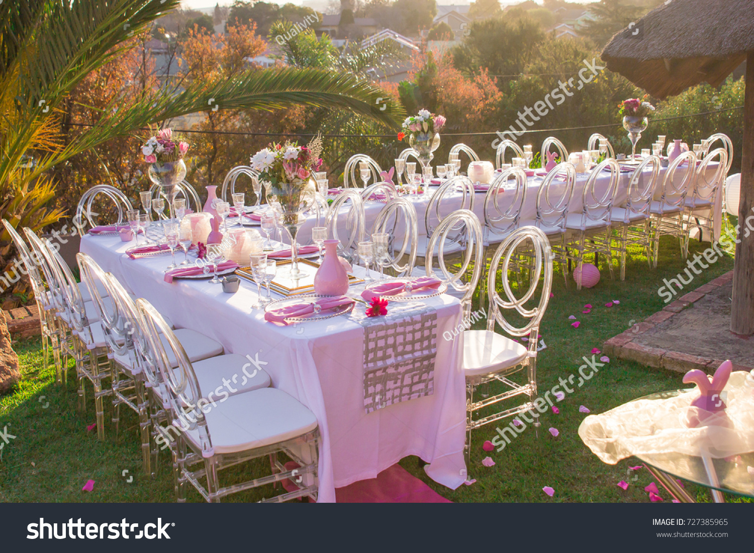 Party Tables Chairs Seating Pink Decorations Stock Photo Edit Now