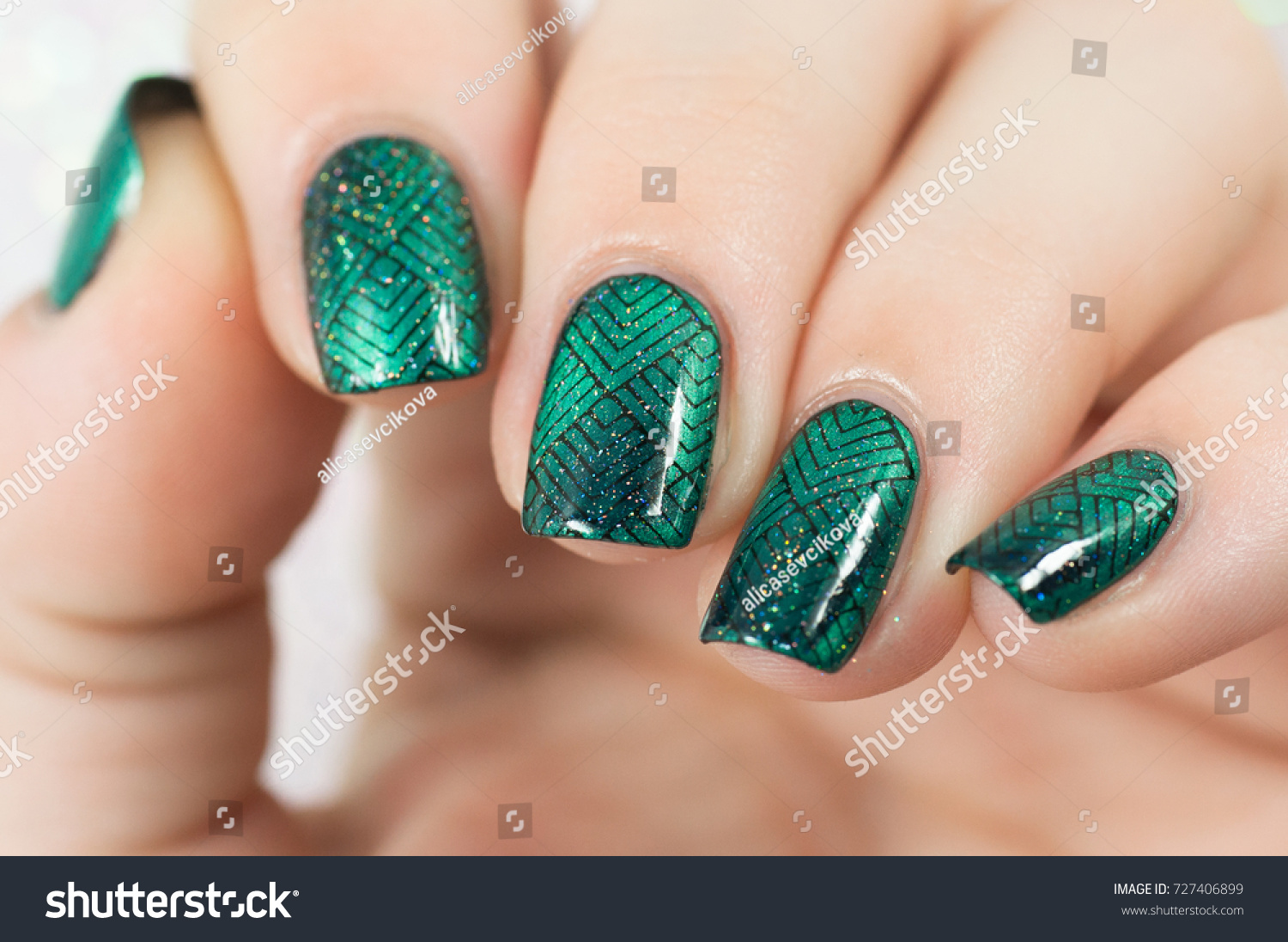Nails Green Cateye Nail Polish Black Stock Photo (Royalty Free ...