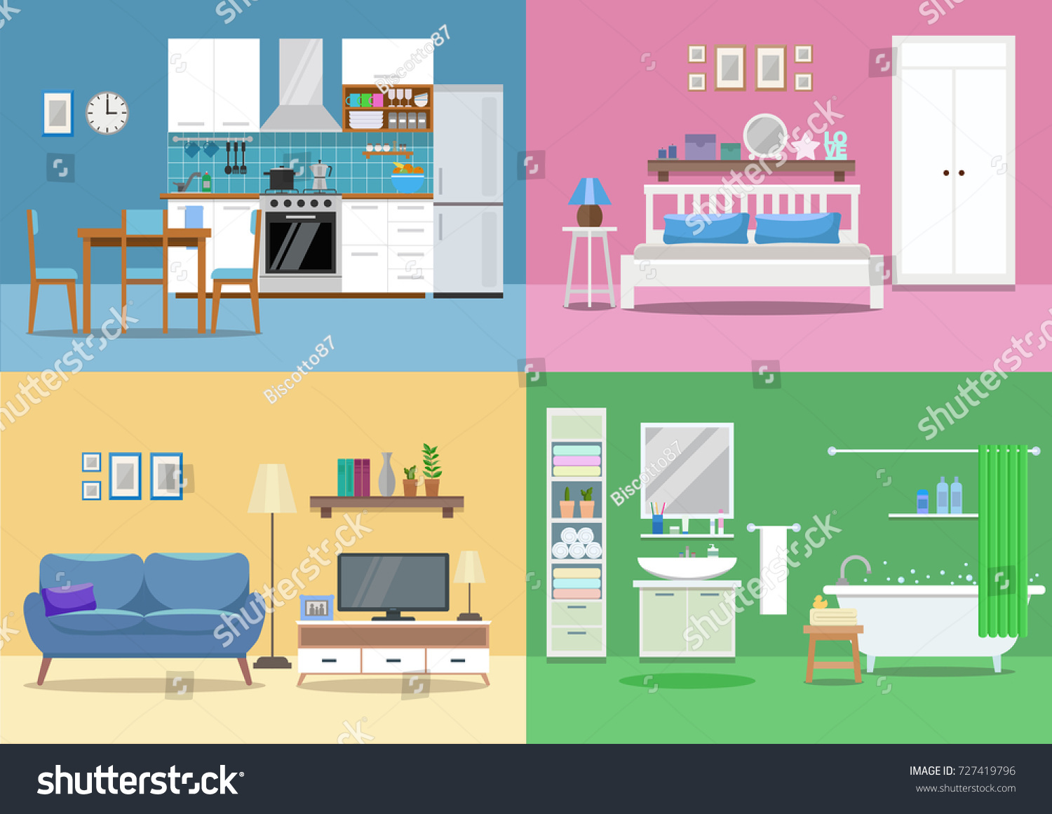 living room bedroom bathroom kitchen house interior kitchen living room bedroom stock vector 18975
