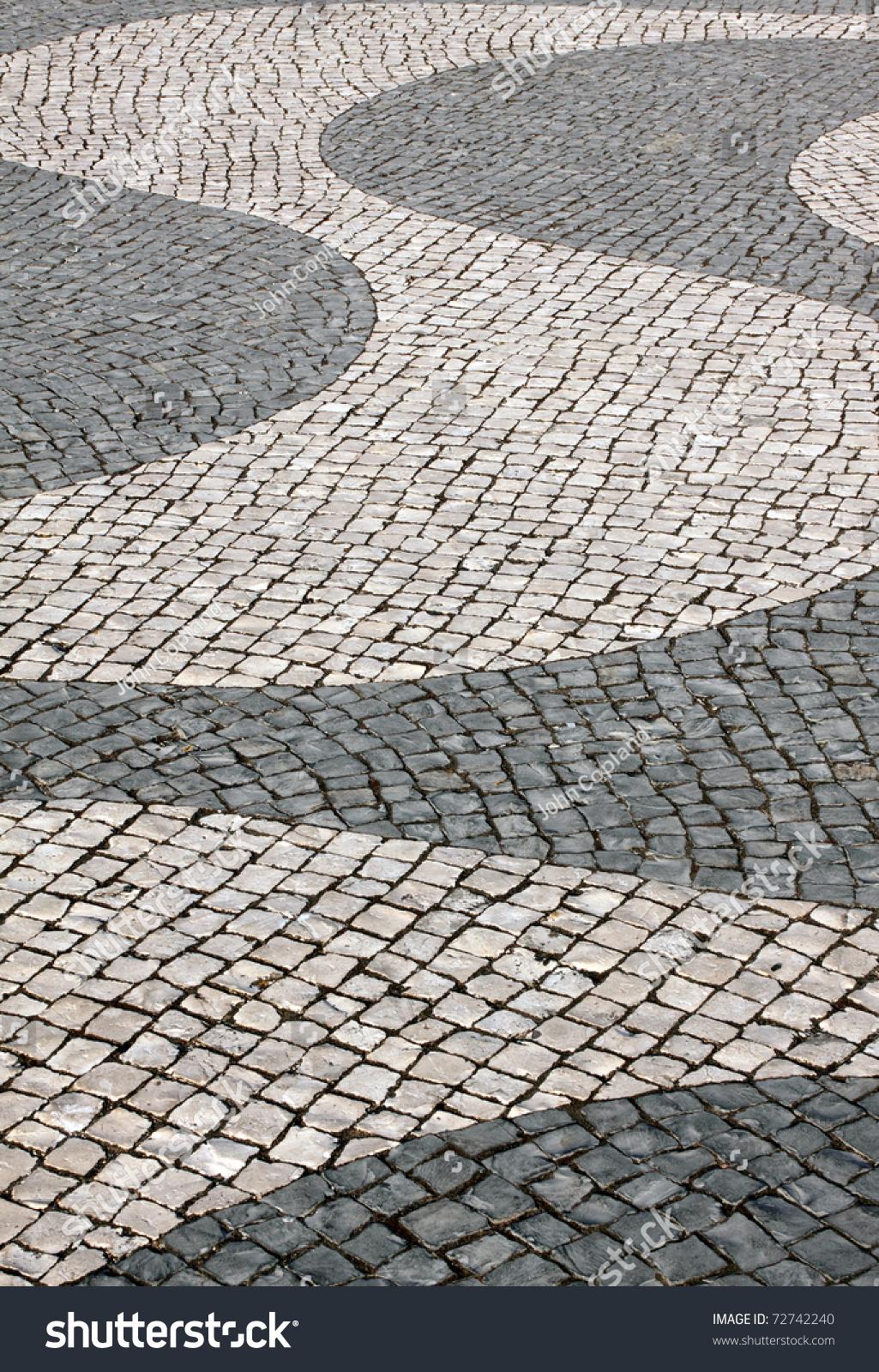 Cobble Stone Mosaics : Portugal lisbon typical portuguese calcada mosaic stock