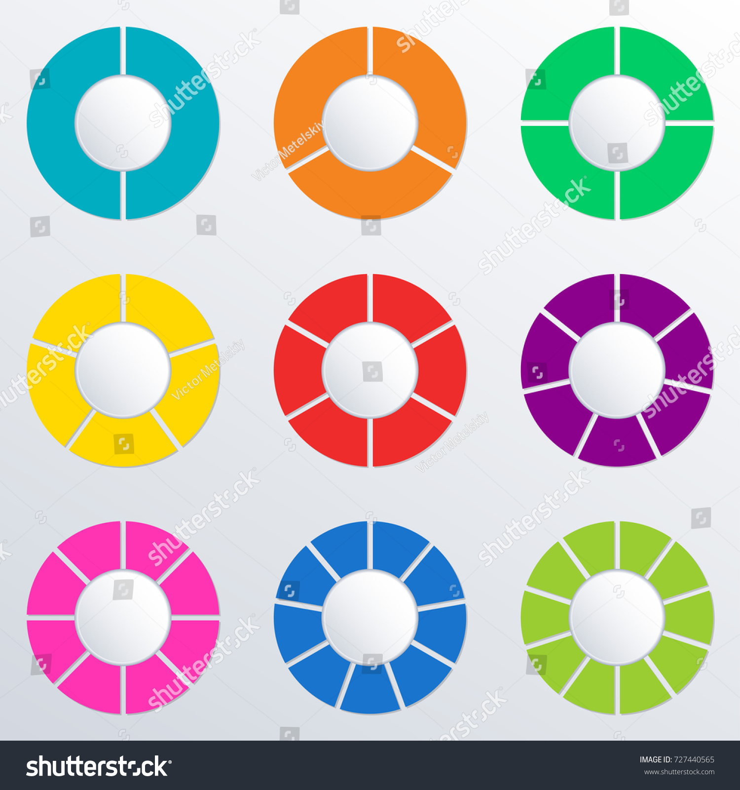 pie chart set 2345678910 parts sections stock vector (royalty free