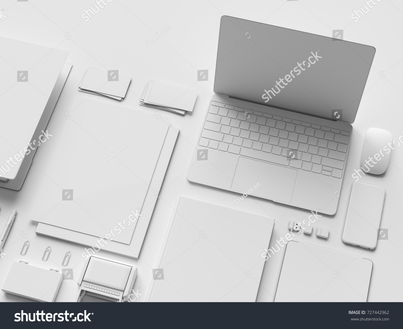 white stationery branding mockup office supplies stock illustration