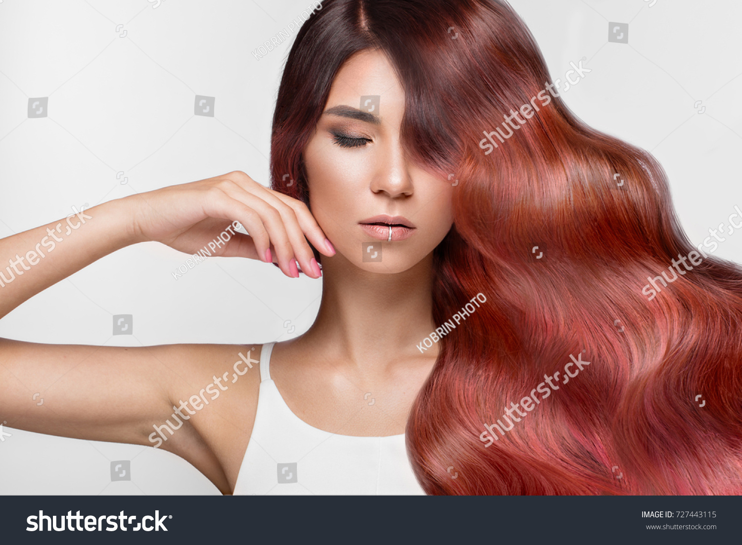 Beautiful Pinkhaired Girl Move Perfectly Curls Stock Photo Edit Now