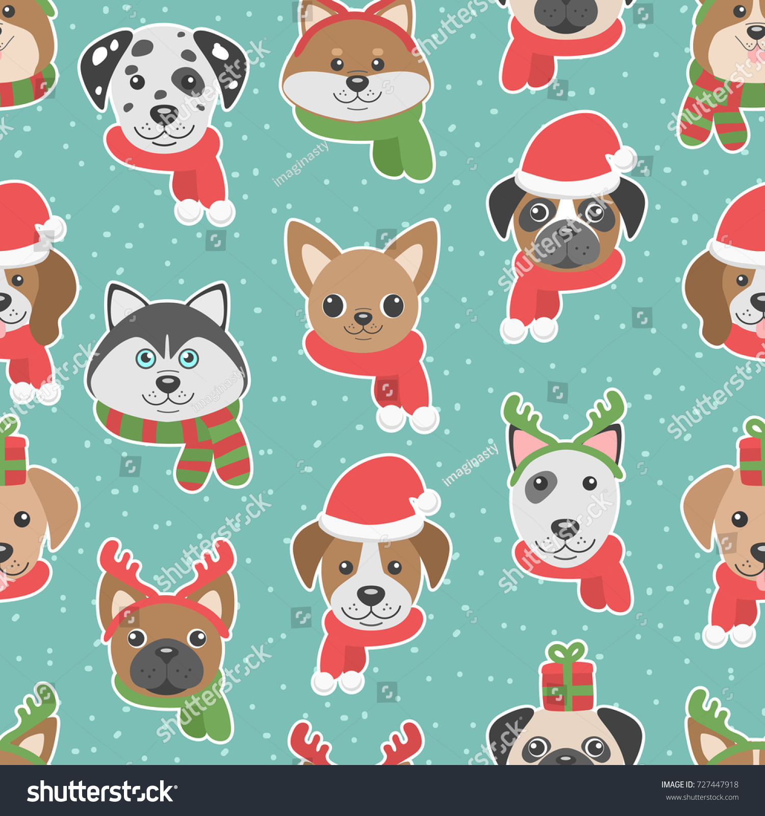 Cute Christmas Seamless Pattern With Cartoon Dogs Funny Characters Vector Background Wallpaper