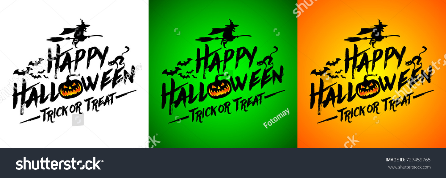 Happy halloween message design on different stock vector 727459765 happy halloween message design on different colors backgroundtext banner and handwritten lettering inscription for m4hsunfo