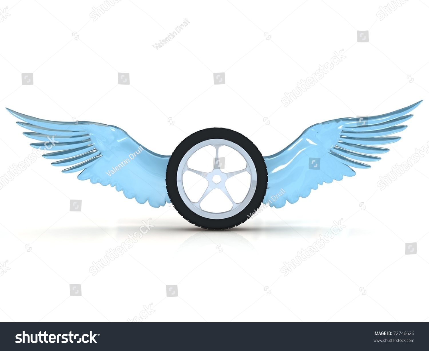 Car Tire Wheel Wings Isolated On Stock Illustration 72746626