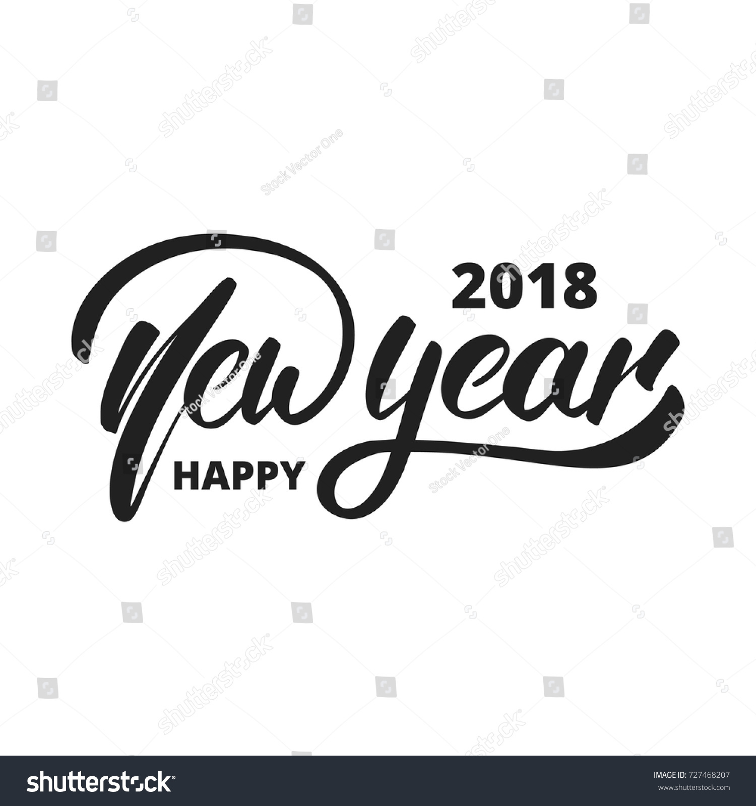 new year 2018 hand drawn logo for new year card poster design etc