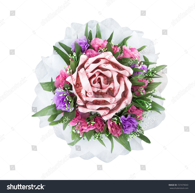 Bouquet Decoration Flower Thai Moneyisolated On Stock Photo (Royalty ...