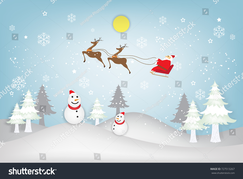Santa Claus On Sleigh Reindeer Over Stock Vector 727513267 ...