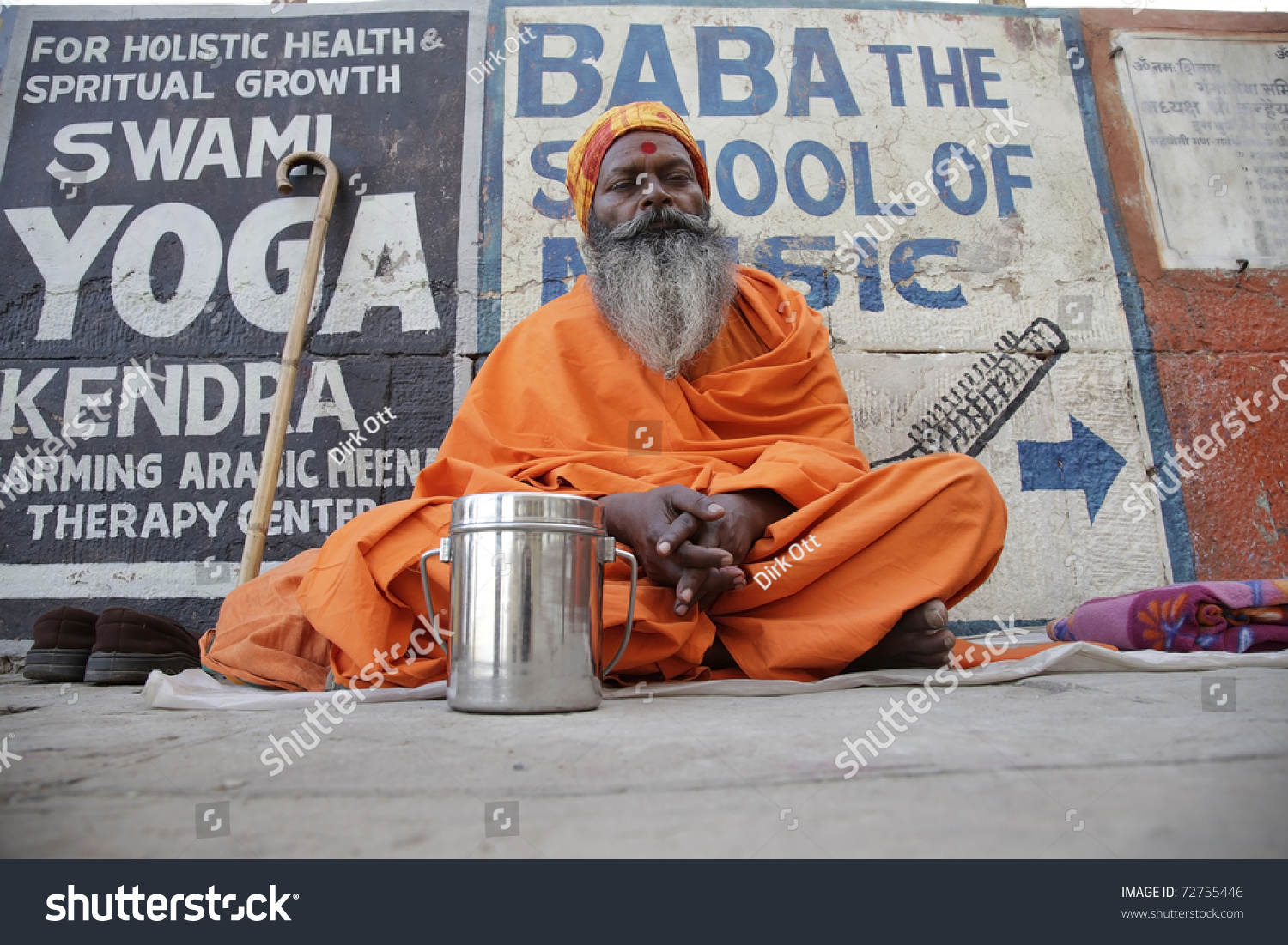VARANASI INDIA MAR 01 Indian Sadhu At The Gate In Varanasi
