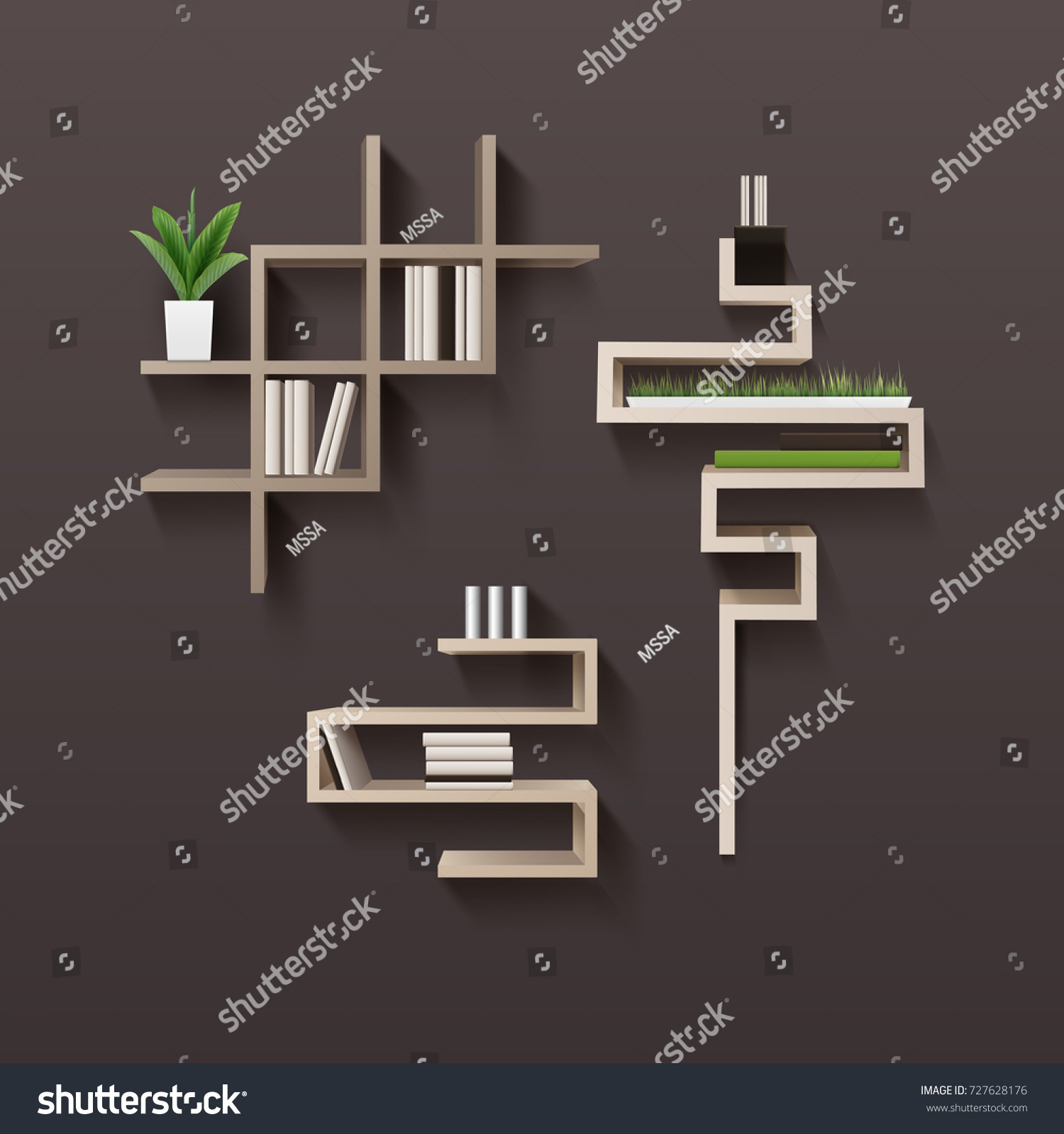 Interior wooden shelves free vector - Vector Modern Wooden Bookshelf With Books And Plants In Interior Isolated On Brown Wall Background