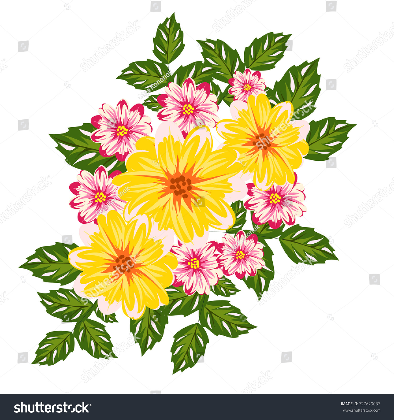 Vector Bouquet Flowers Design Cards Invitations Stock Vector