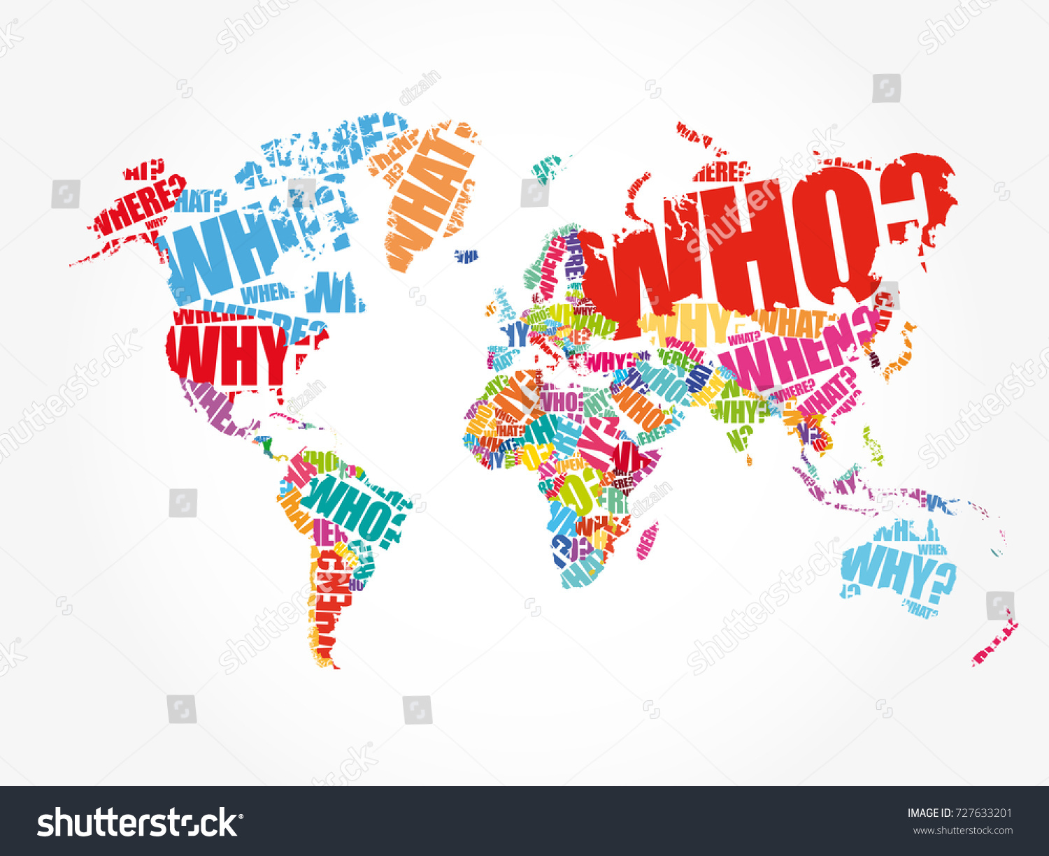 Questions whose answers considered basic information stock vector questions whose answers are considered basic in information gathering or problem solving in world map typography gumiabroncs Image collections