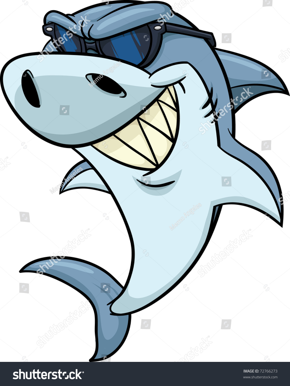 Cool Cartoon Shark Wearing Shades Vector Stock Vector