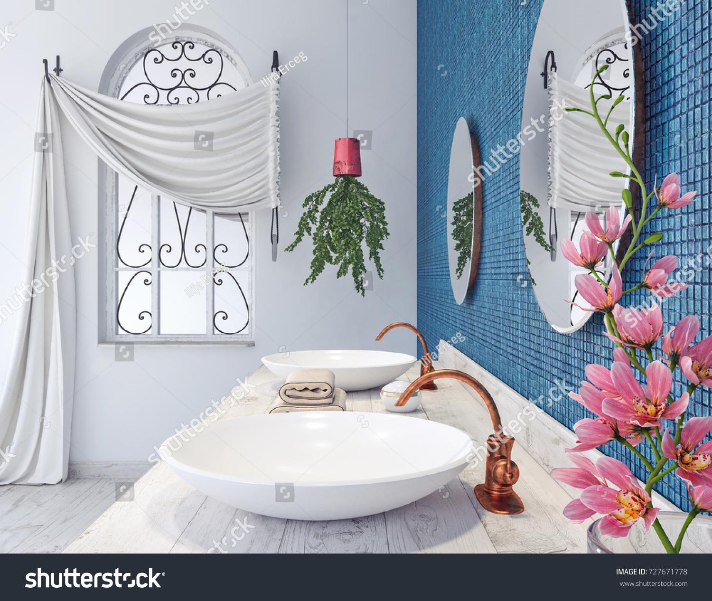 Classic Bathroom Design Blue Mosaic Tiles Stock Illustration ...
