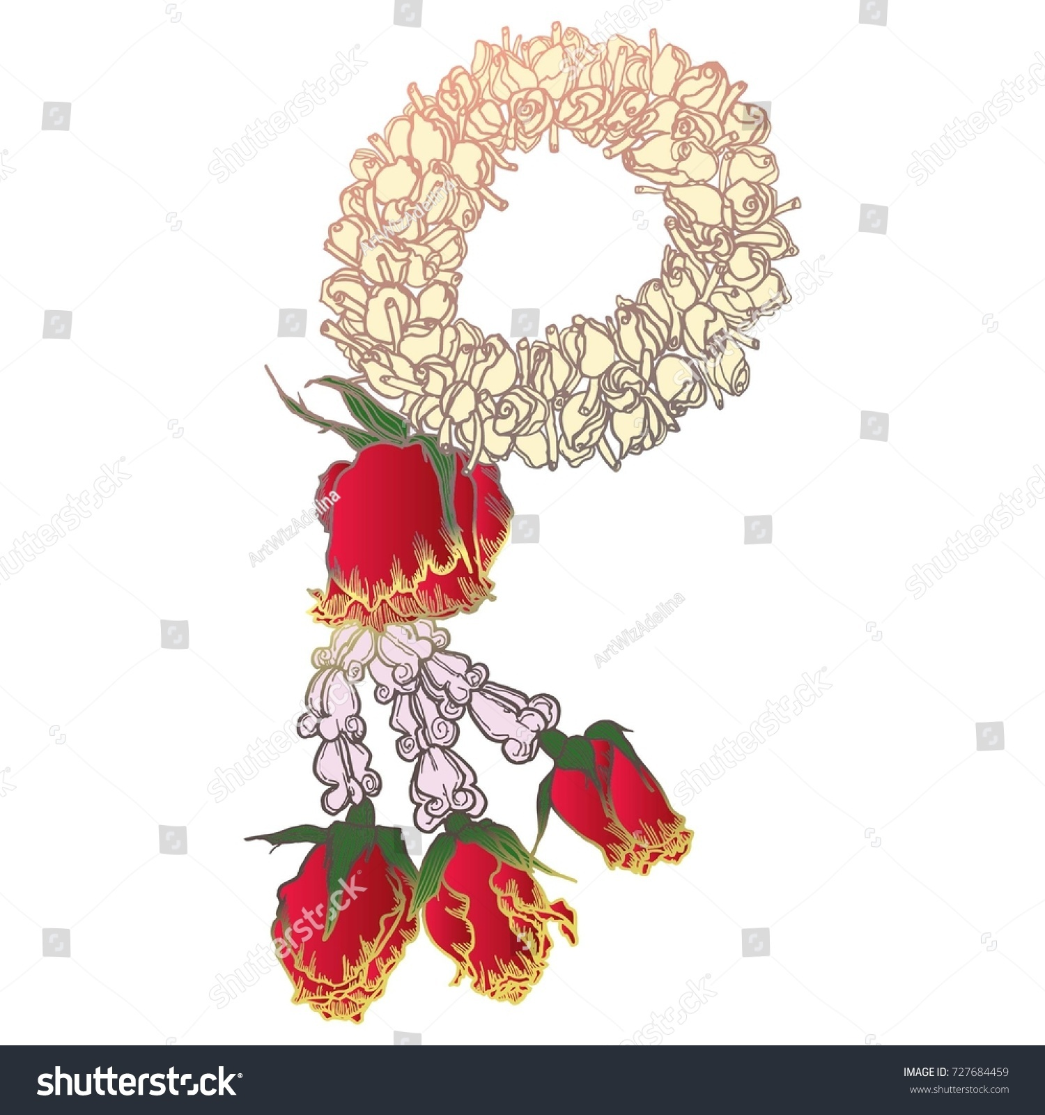 Beautiful thai buddhist flower garland good stock vector 727684459 beautiful thai buddhist flower garland for good luck with jasmin and roses vector illustration buycottarizona