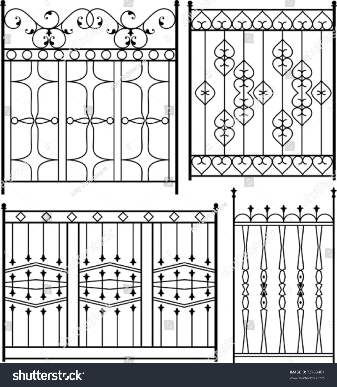 Wrought Iron Gate Design Set Stock Vector Shutterstock