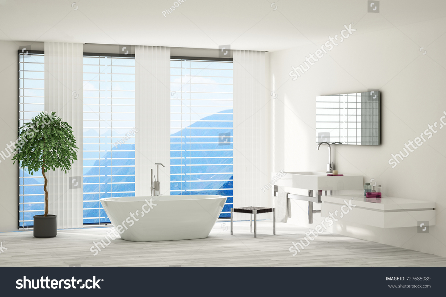 Bright Modern Minimalist Spacious Bathroom White Stock Illustration ...