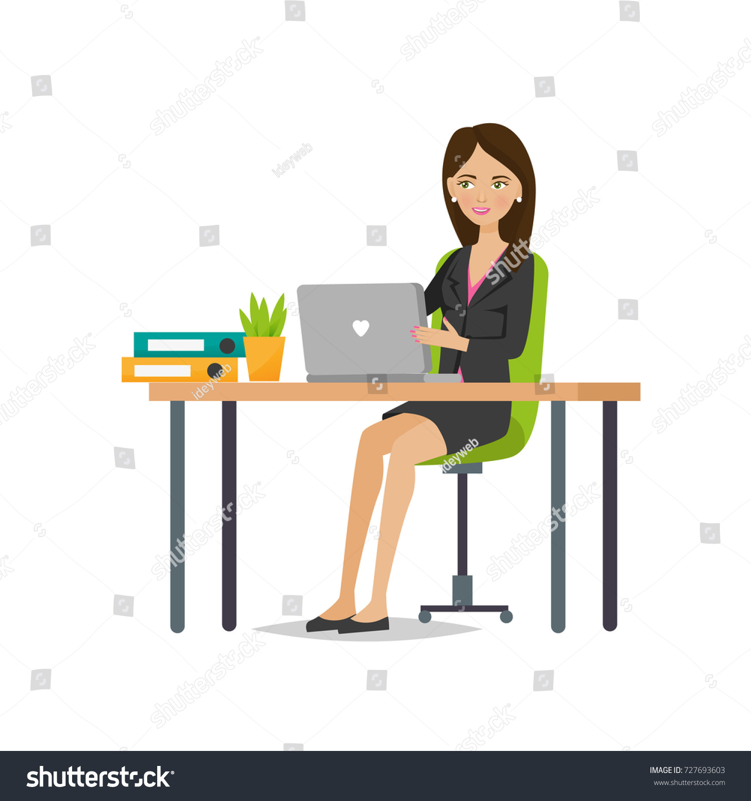 Businesswoman Working Cartoon Character Person Office Stock Vector Royalty Free 727693603